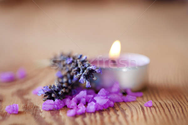 Candle with salt baths and sprigs of lavender  Stock photo © All32