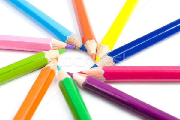 Coloured pencils arranged in the form of the sun Stock photo © All32