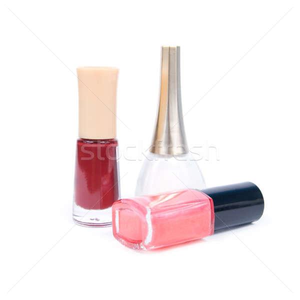Nagels geïsoleerd witte verf glas achtergrond Stockfoto © All32