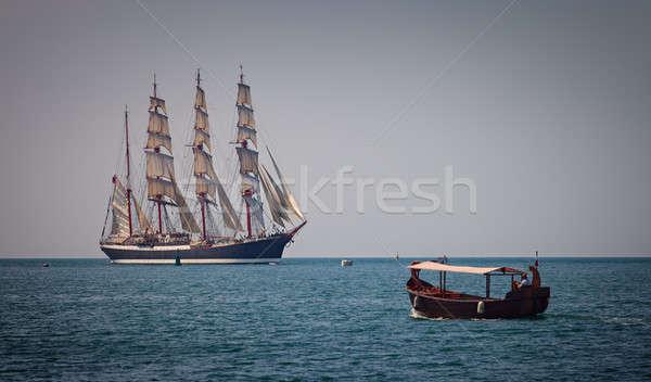Zeilschip boot zee oceaan Blauw schip Stockfoto © All32
