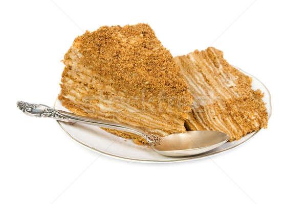 Ломтики торт блюдце изолированный белый счастливым Сток-фото © All32