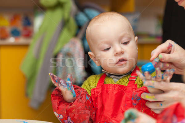 The child draws a finger paints Stock photo © All32