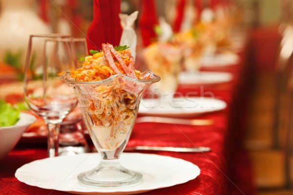 Geserveerd banket tabel wijnglazen bril partij Stockfoto © All32