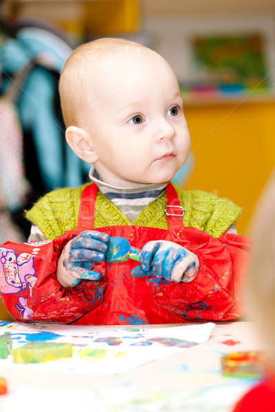 Child draws a finger paints Stock photo © All32