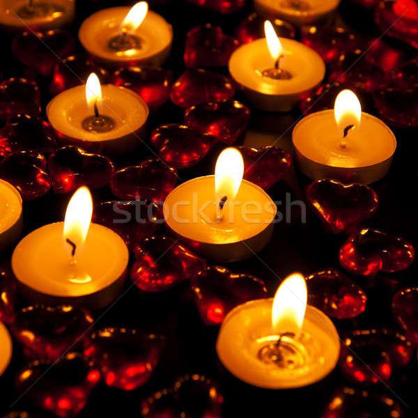 Kaarsen decoratief Rood hart brandend vlam Stockfoto © All32