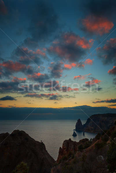Seacoast with cliffs at sunset Stock photo © All32