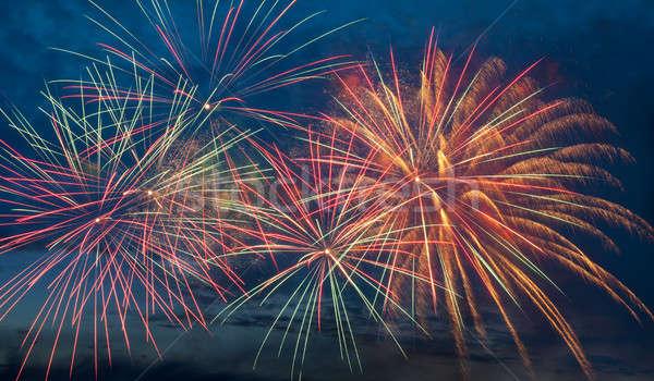 Havai fişek gökyüzü gece gökyüzü parti ışık sanat Stok fotoğraf © All32