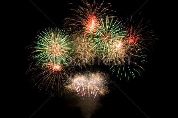 Mooie vuurwerk nachtelijke hemel hemel partij kunst Stockfoto © All32