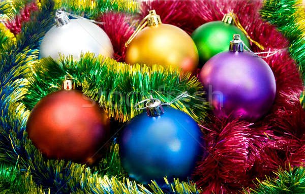 Multi-colored Christmas tree balls in the tinsel  Stock photo © All32
