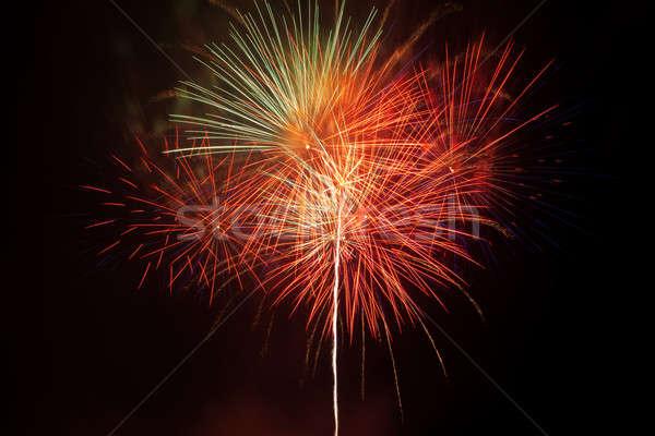 Feux d'artifice ciel de la nuit coloré rouge ciel fête Photo stock © All32