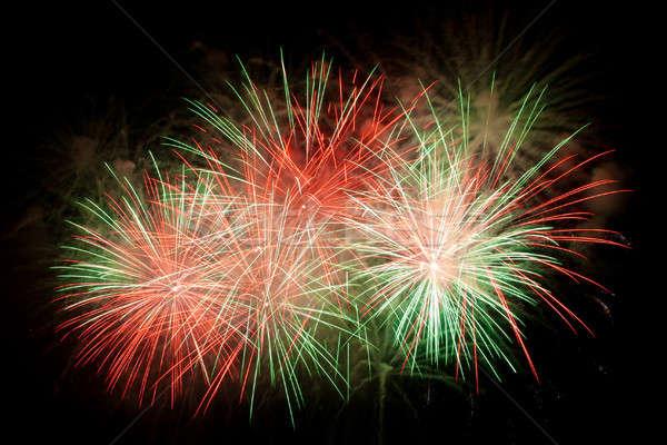 Mooie vuurwerk vuurwerk nachtelijke hemel hemel partij Stockfoto © All32