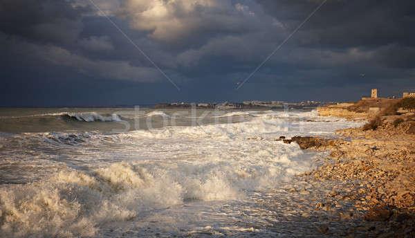 Tempête côte marin plage ciel eau Photo stock © All32