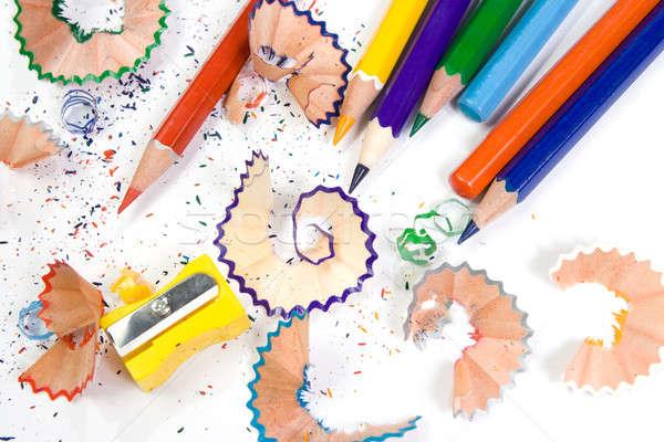 Kolorowy ołówki temperówka drewna szkoły farbują Zdjęcia stock © All32