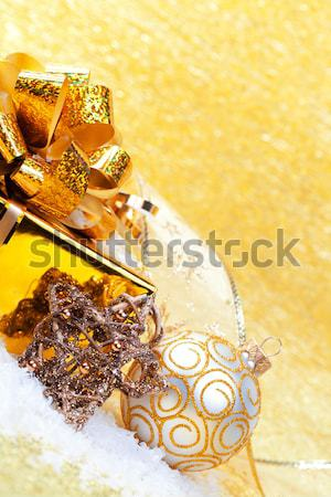 Stok fotoğraf: Noel · hediyeler · süslemeleri · sarı · arka · plan · kutu