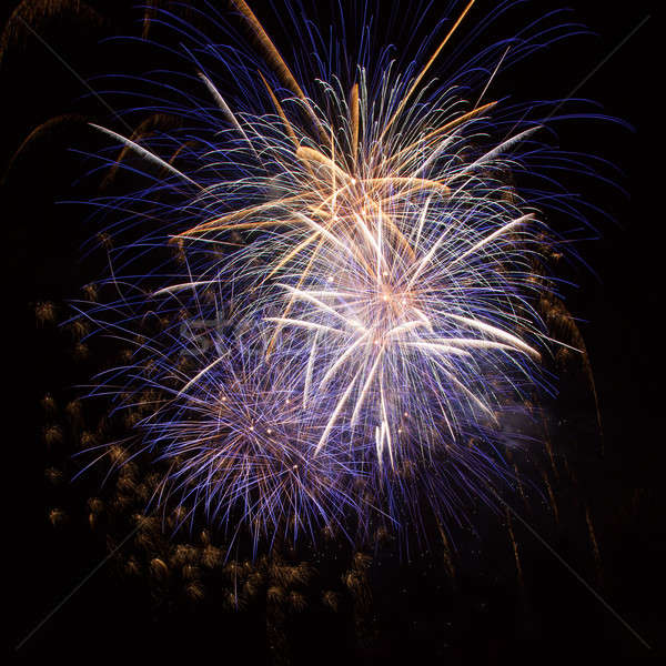 Coloré feux d'artifice ciel de la nuit fumée nuit amusement Photo stock © All32