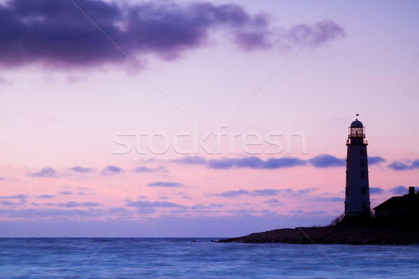 Seascape and the lighthouse on the coast Stock photo © All32