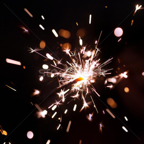 Sparks bengal yangın siyah parti soyut Stok fotoğraf © All32