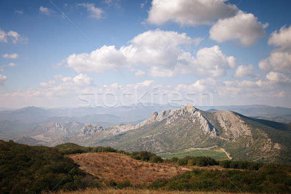 Mountains under the blue sky with clouds Stock photo © All32