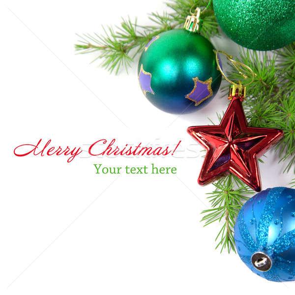 Karácsony díszítések fenyő ág izolált fehér Stock fotó © All32