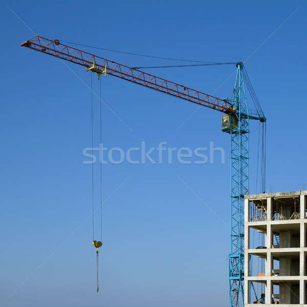 Inşaat vinç mavi gökyüzü iş ev çalışmak Stok fotoğraf © All32