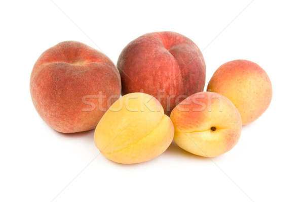 Pêssegos isolado branco verão vermelho frutas Foto stock © All32