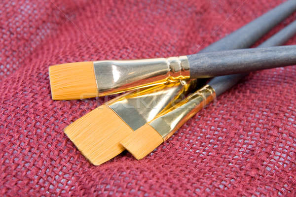 Borstel tekening Rood doek verf schoonheid Stockfoto © All32
