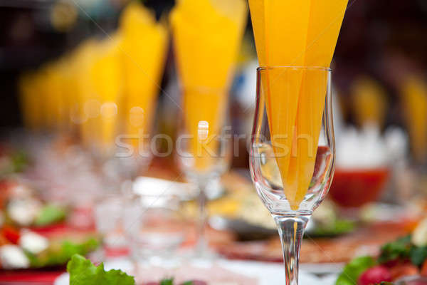 Wijnglas servet binnenkant banket tabel partij Stockfoto © All32