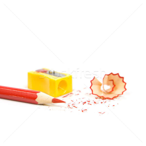 Sharpened pencil next to the sharpener and shavings. Stock photo © All32