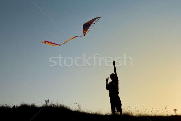 A boy flies a kite Stock photo © All32