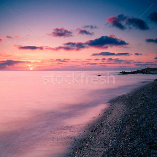 Zeegezicht mistig water zonsondergang natuur achtergrond Stockfoto © All32