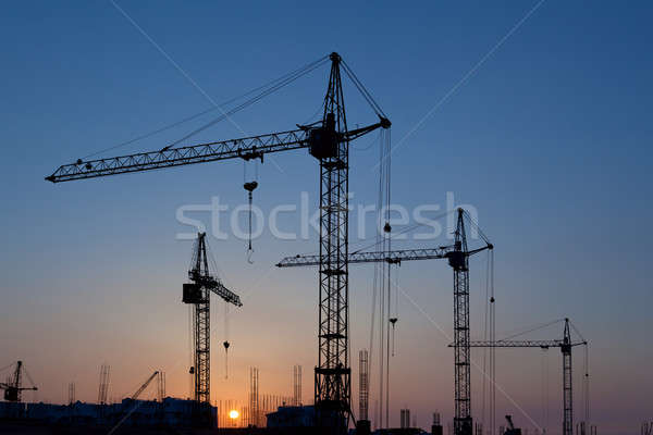 Silhouettes of construction cranes Stock photo © All32