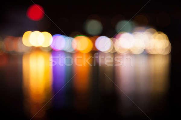 Veelkleurig lichten City Night stad ontwerp Blauw Stockfoto © All32