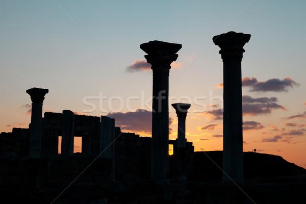Antigo ruínas pôr do sol céu sol laranja Foto stock © All32