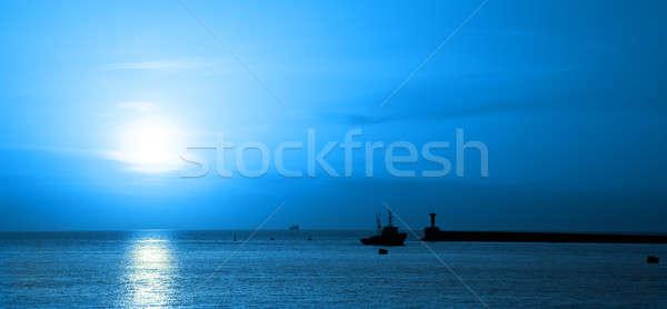 Navio marinha lua azul noite ondas Foto stock © All32