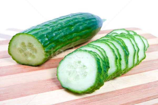 Komkommer gesneden boord achtergrond groene Stockfoto © All32