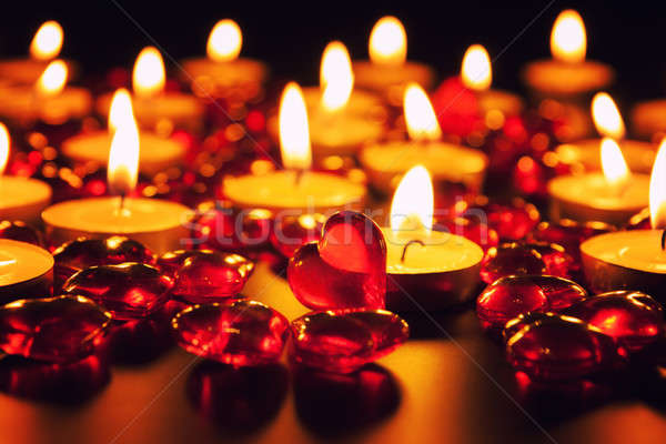 Candles and decorative red heart Stock photo © All32
