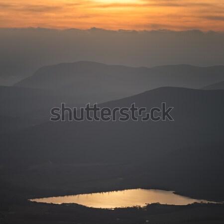 Zonsondergang berg heuvels hemel landschap achtergrond Stockfoto © All32