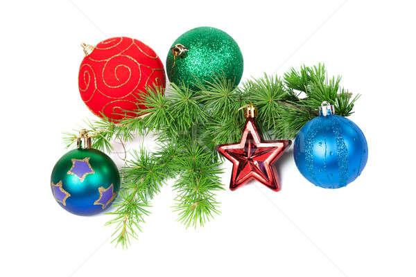 Christmas decoraties tak geïsoleerd witte Stockfoto © All32