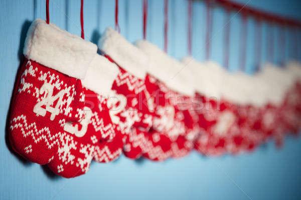 Mitones Navidad regalos azul fondo regalo Foto stock © All32