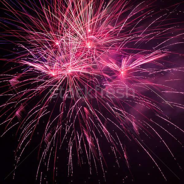 Czerwony fajerwerków nieba piękna niebo sztuki Zdjęcia stock © All32