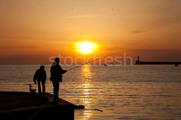 Silhouettes of Fishermen Stock photo © All32