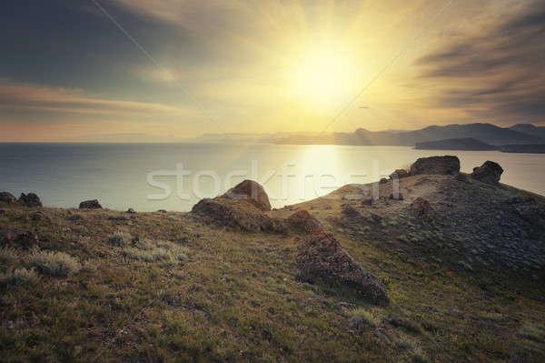 Sol puesta de sol paisaje viaje amanecer horizonte Foto stock © All32