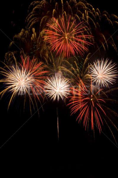 Mooie vuurwerk nachtelijke hemel hemel water partij Stockfoto © All32