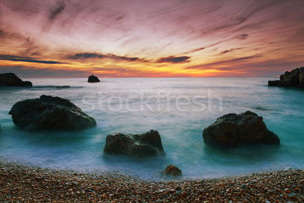 Tengeri kilátás tenger part naplemente víz tájkép Stock fotó © All32