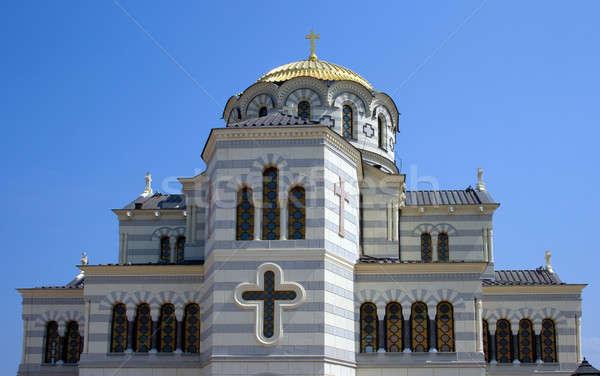 Cathédrale ville construction croix bleu Voyage Photo stock © All32
