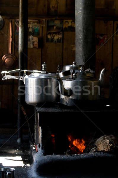 Bule panela casa cozinha preto aço Foto stock © All32