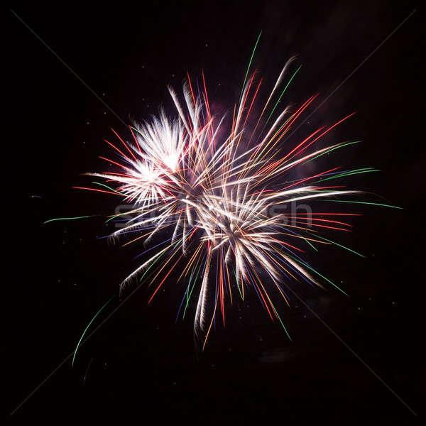 Feux d'artifice coloré ciel de la nuit heureux lumière fumée Photo stock © All32