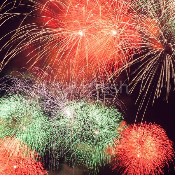 Feux d'artifice coloré ciel de la nuit fumée nuit amusement Photo stock © All32