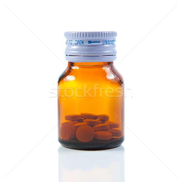 Zárva fiola tabletták izolált fehér orvosi Stock fotó © All32