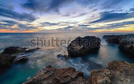 Puslu su gün batımı deniz manzarası gökyüzü manzara Stok fotoğraf © All32